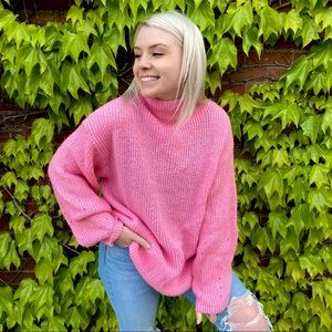 H&M Neon Pink Oversized Sweater